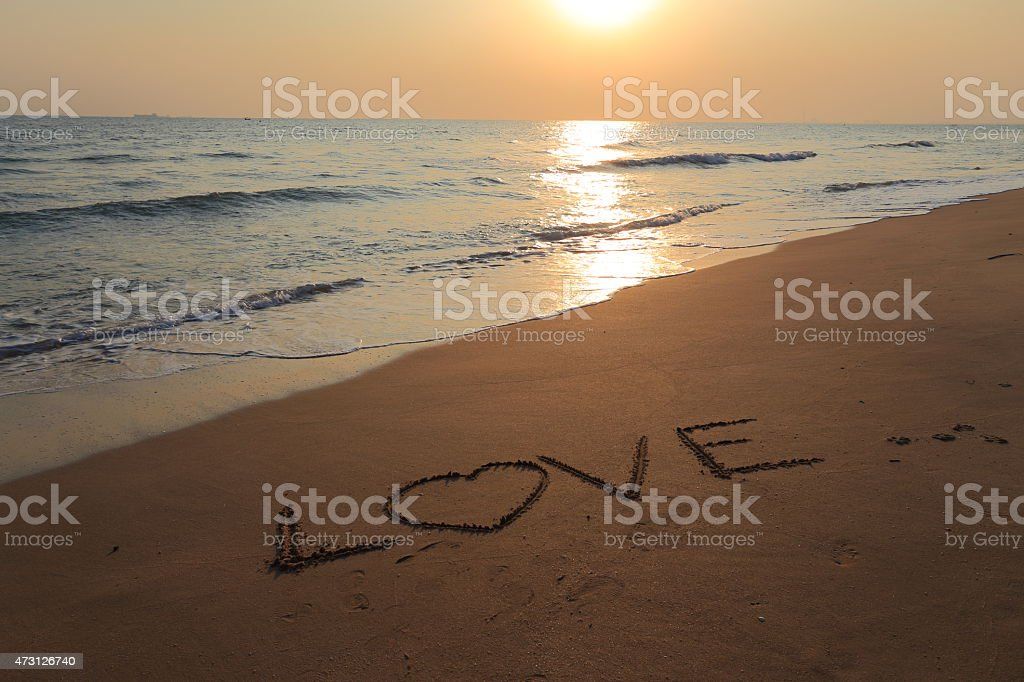 Letters on the sand vector art illustration