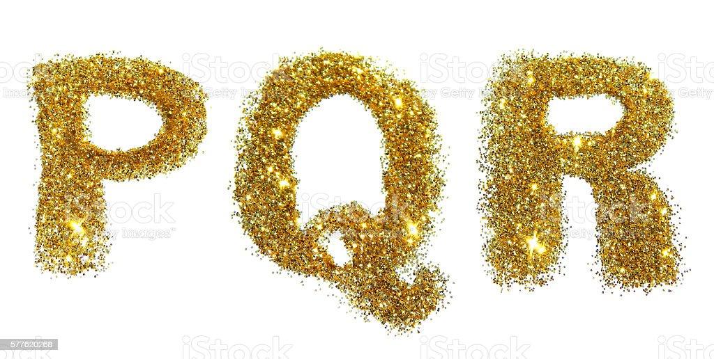 Letters P, Q, R of golden glitter sparkle on white stock photo