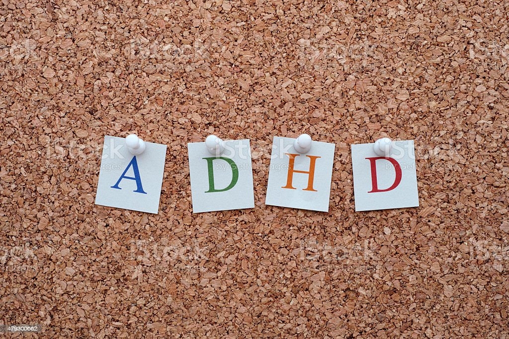 ADHD letters pinned to a cork notice board stock photo