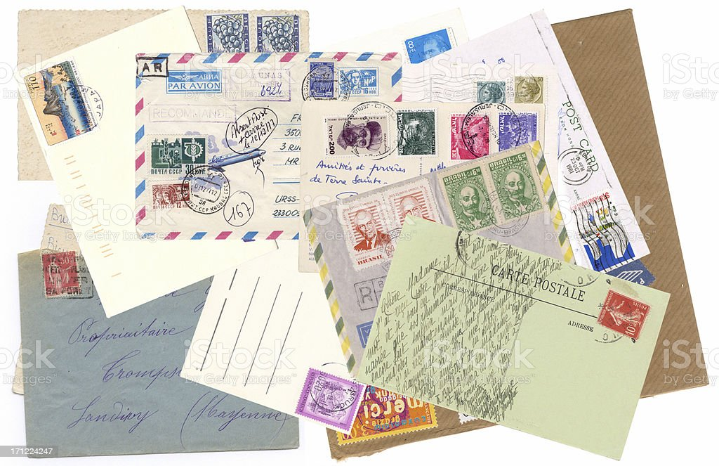 Letters postcards with stamps royalty-free stock photo