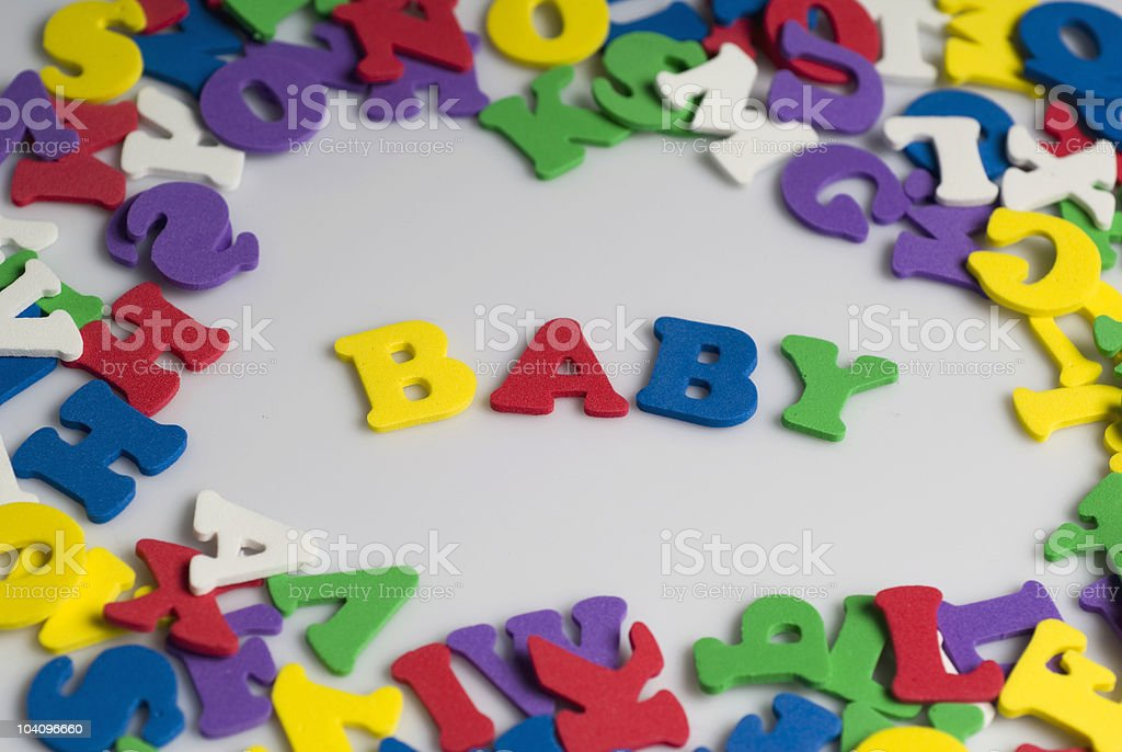 Letters spelling baby royalty-free stock photo