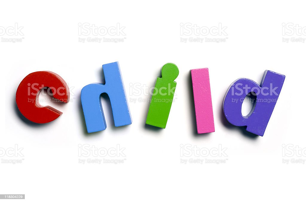 Letters spelling child royalty-free stock photo