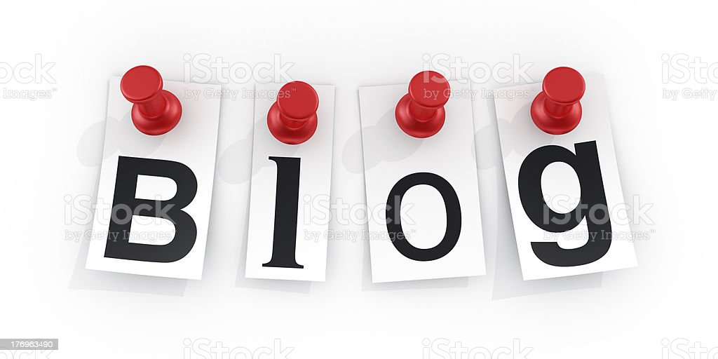 Letter's spelling out blog pinned with red pushpins royalty-free stock photo