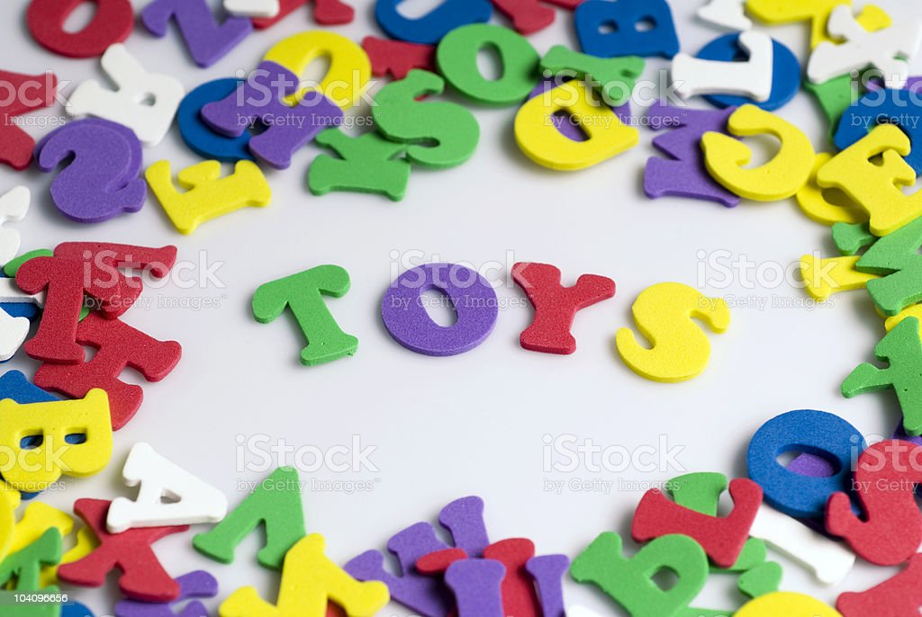Letters spelling toys royalty-free stock photo