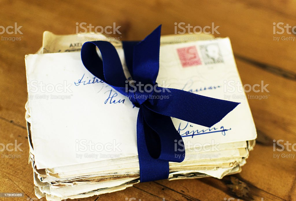 Letters tied up with ribbon stock photo