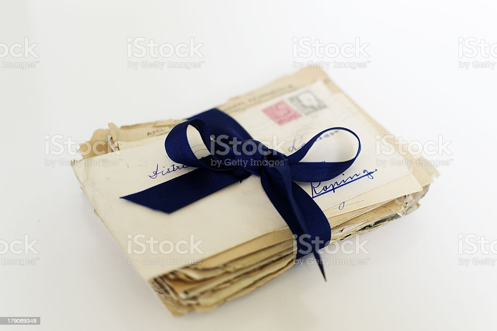 Letters tied with a ribbon royalty-free stock photo