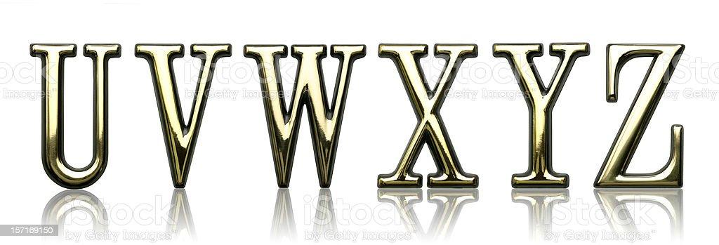 Letters - U V W X Y Z stock photo