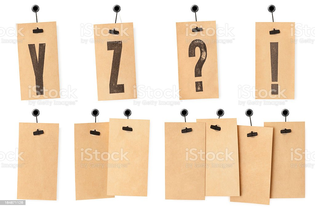 Letters Y Z and blank labels royalty-free stock photo