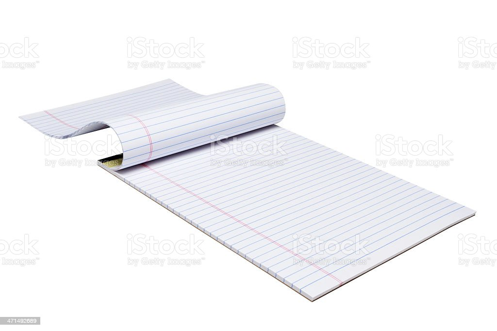 Letter-size writing pad of blank blue-ruled paper stock photo