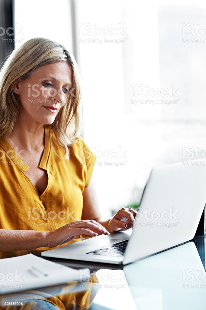 Letting her fingers do the talking stock photo