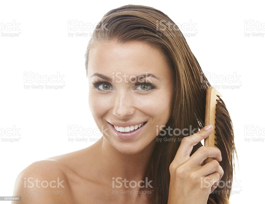 Letting her hair down royalty-free stock photo