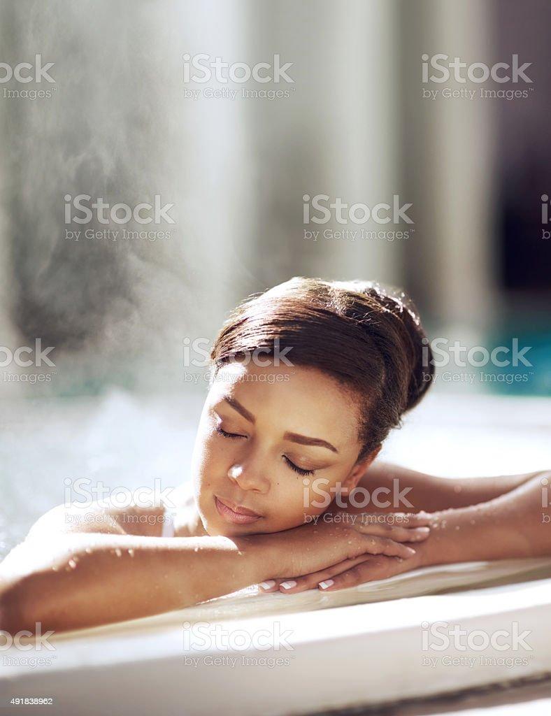 Letting her stress drift away stock photo