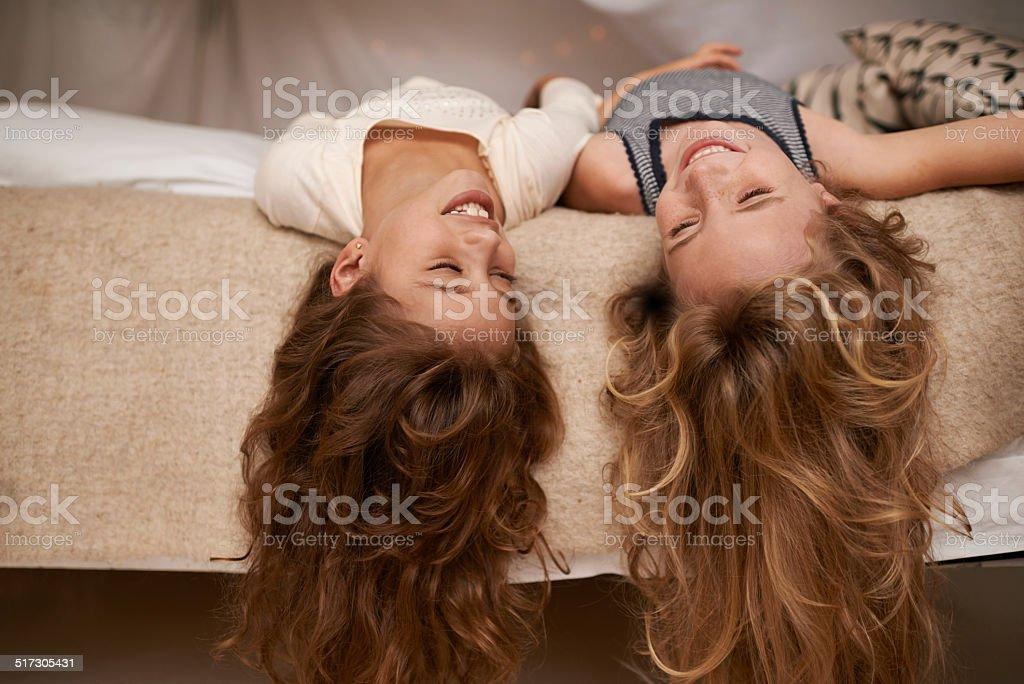 Letting their hair down stock photo