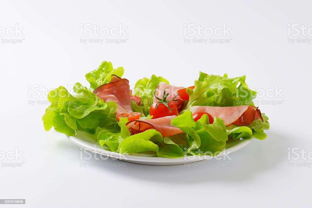 lettuce and thin sliced Black Forest ham stock photo