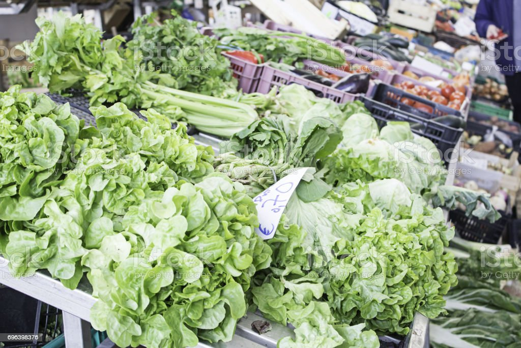 Lettuce district greengrocers stock photo