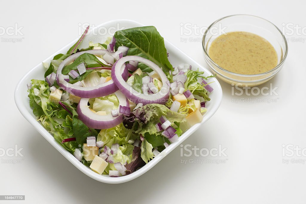 Lettuce  Salad with Mustard Vinaigrette Dressing royalty-free stock photo
