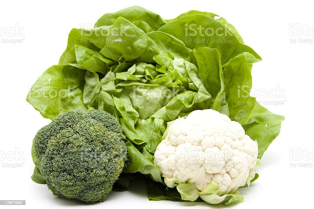 Lettuce with broccoli and cauliflower royalty-free stock photo