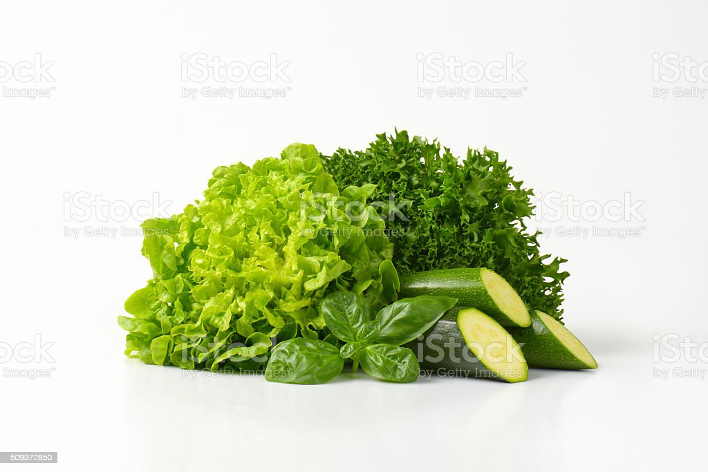 letucce and courgettes stock photo