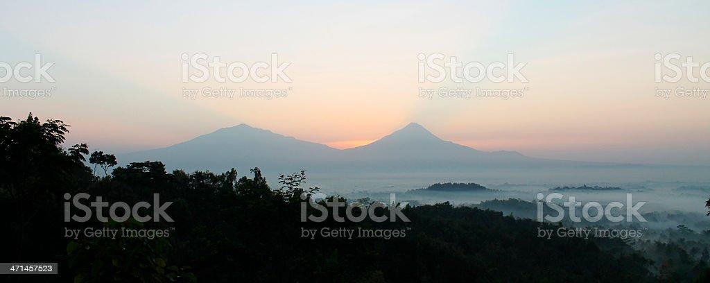 Letusan Merapi volcano at dawn stock photo