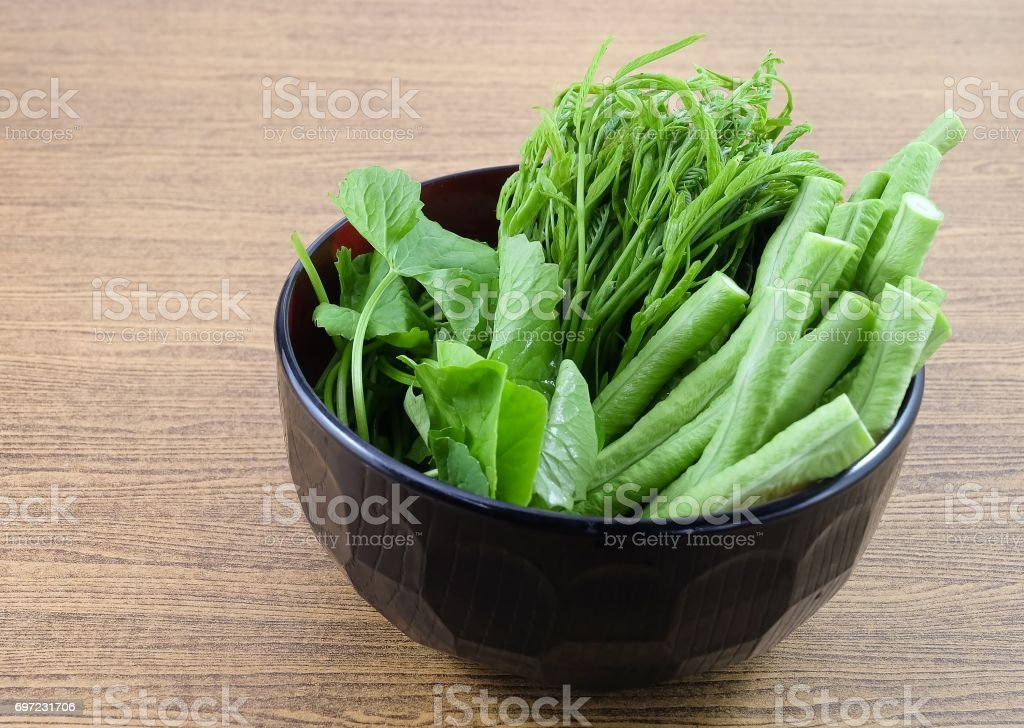 Leucaena Leucocephala, Gotu Kola Leaves and Cowpeas in A Bowl stock photo