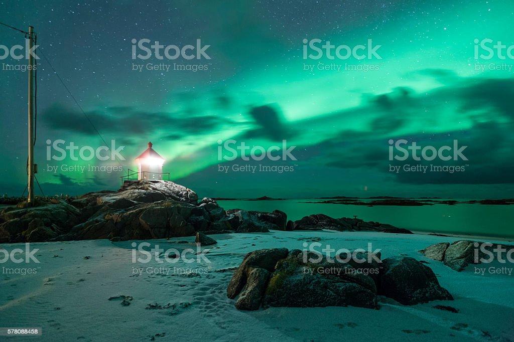 Leuchtturm auf den Lofoten stock photo