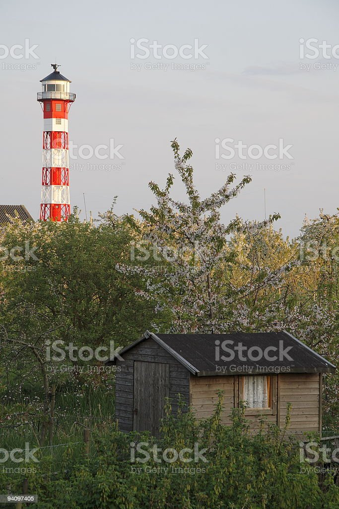 Leuchtturm bei Gr?nendeich an der Elbe stock photo