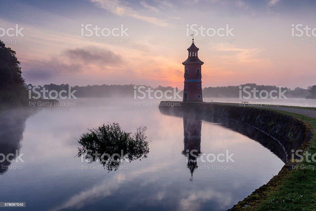 Leuchtturm von Moritzburg in Sachsen stock photo