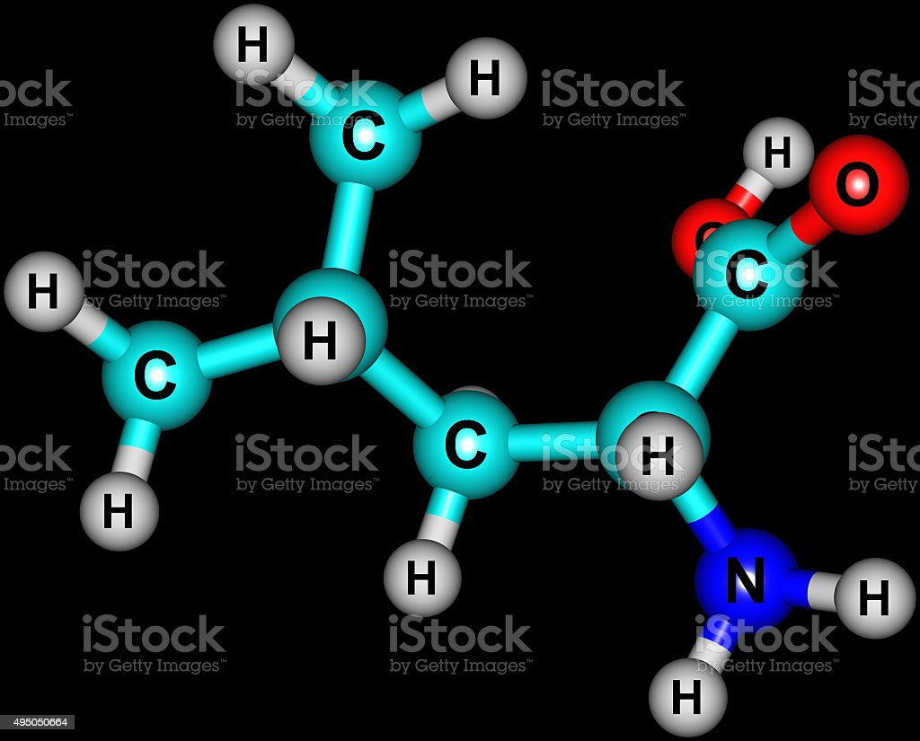 Leucine molecular structure on black background stock photo