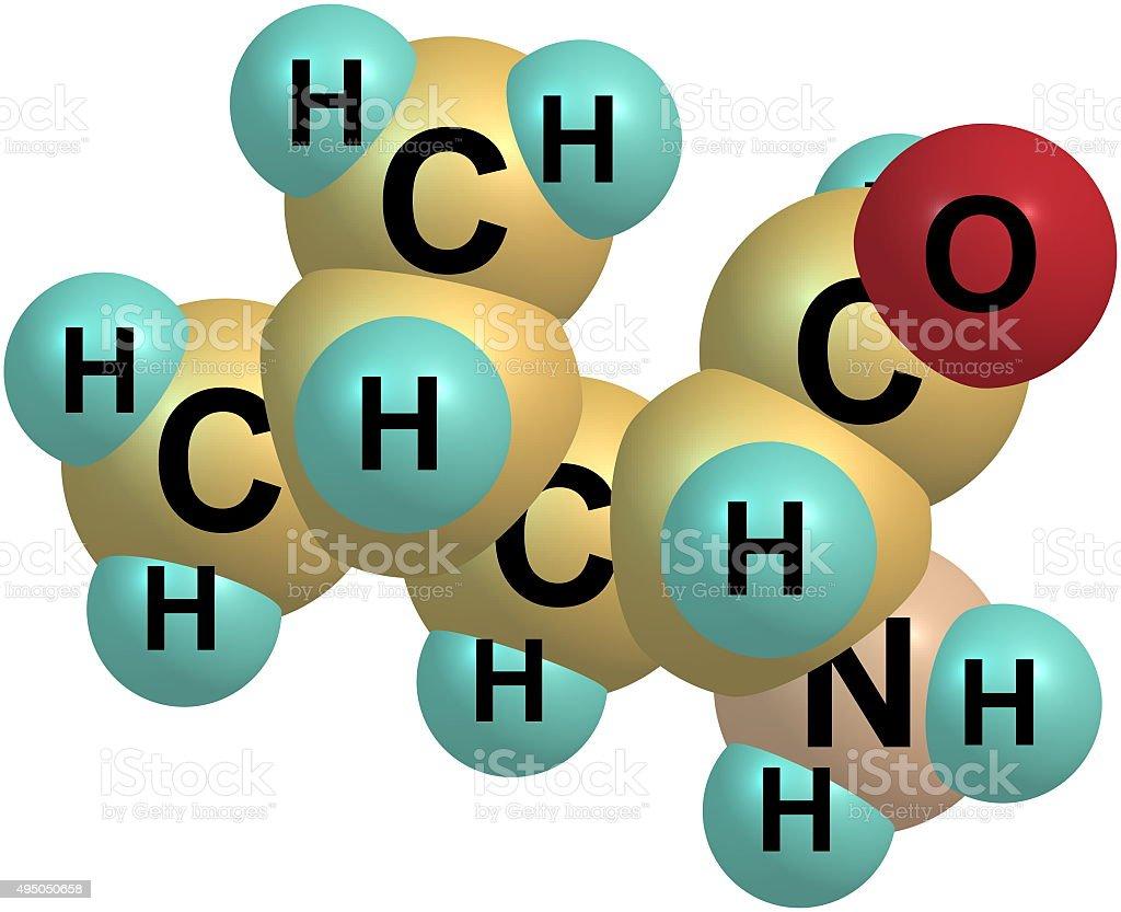 Leucine molecular structure on white background stock photo