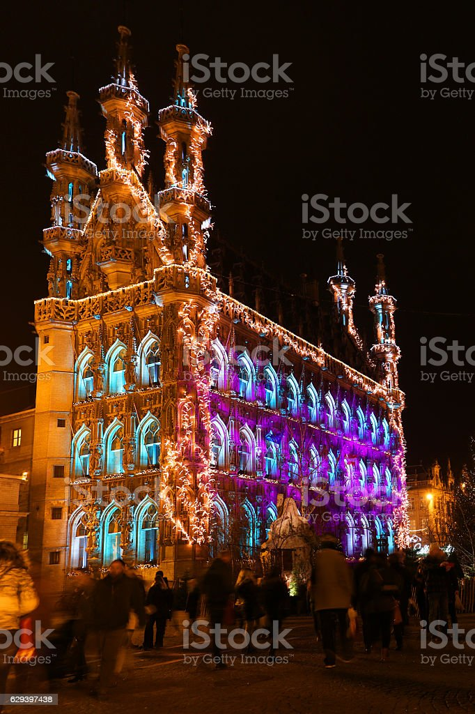 Leuven Town Hall Decorated and Lit for 2016 Holiday Season stock photo