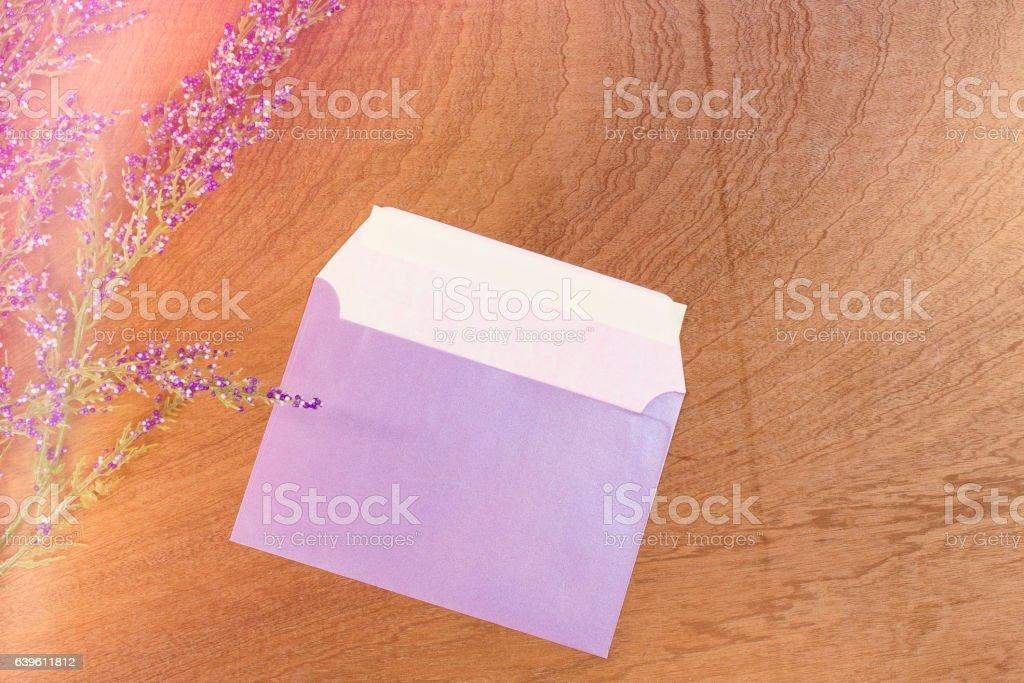 Levander pearlescent envelope stock photo