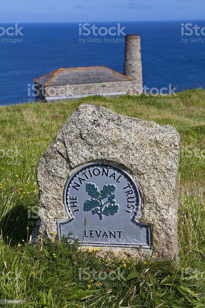 Levant Tin Mine in Cornwall stock photo