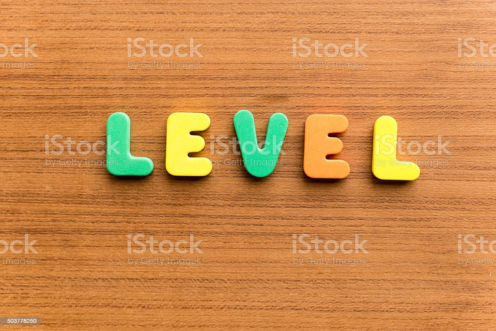 level  colorful word stock photo