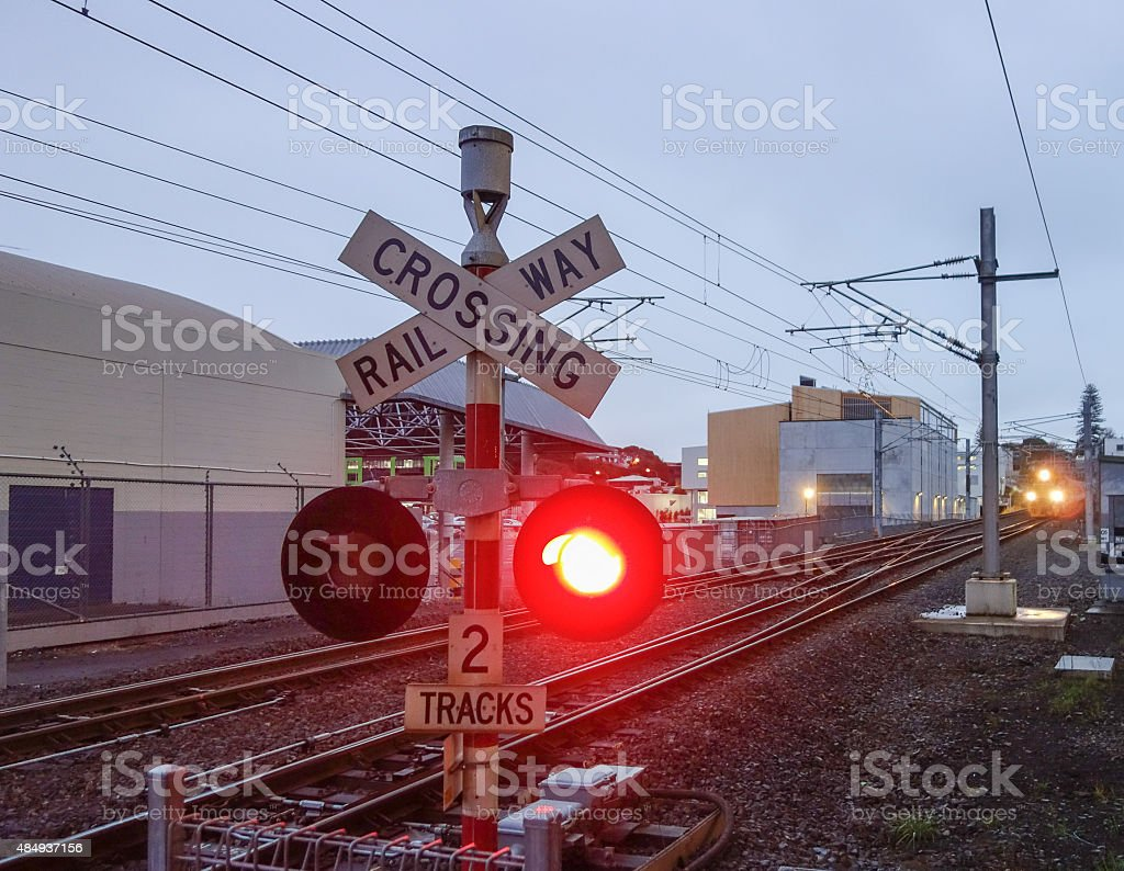 Level crossing sign stock photo