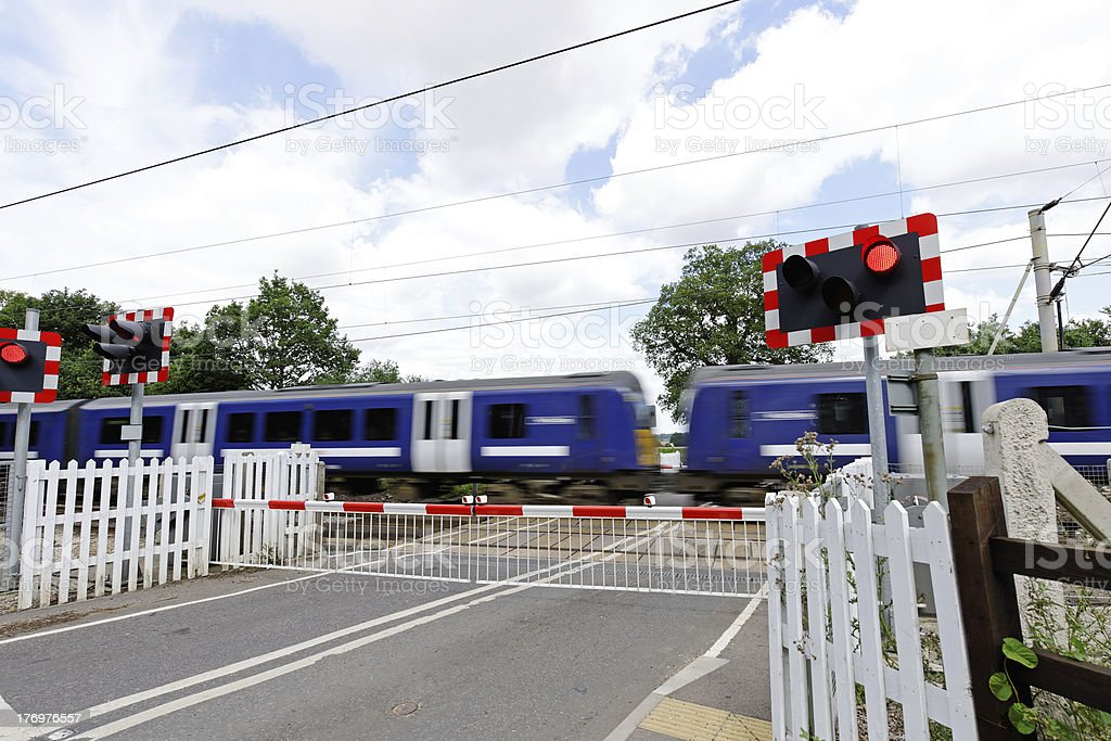 Level Crossing with Train stock photo