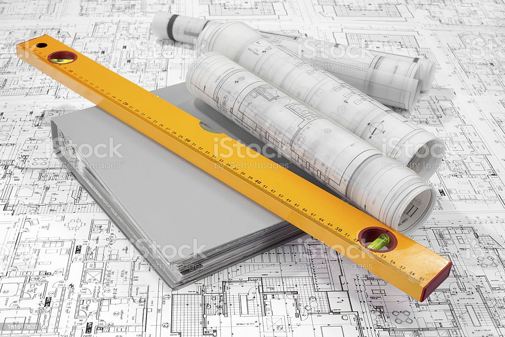 Level, grey folder document and project drawings royalty-free stock photo