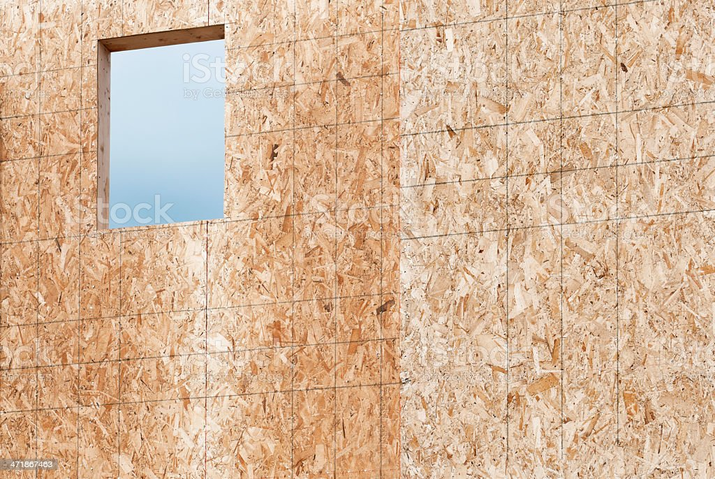 Level lines drawn on fiberboard wall of new house royalty-free stock photo