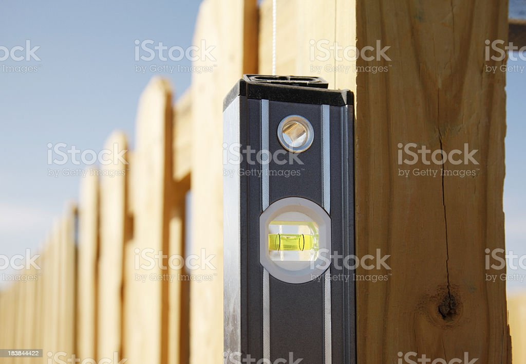 Level Next to a Fence Post royalty-free stock photo