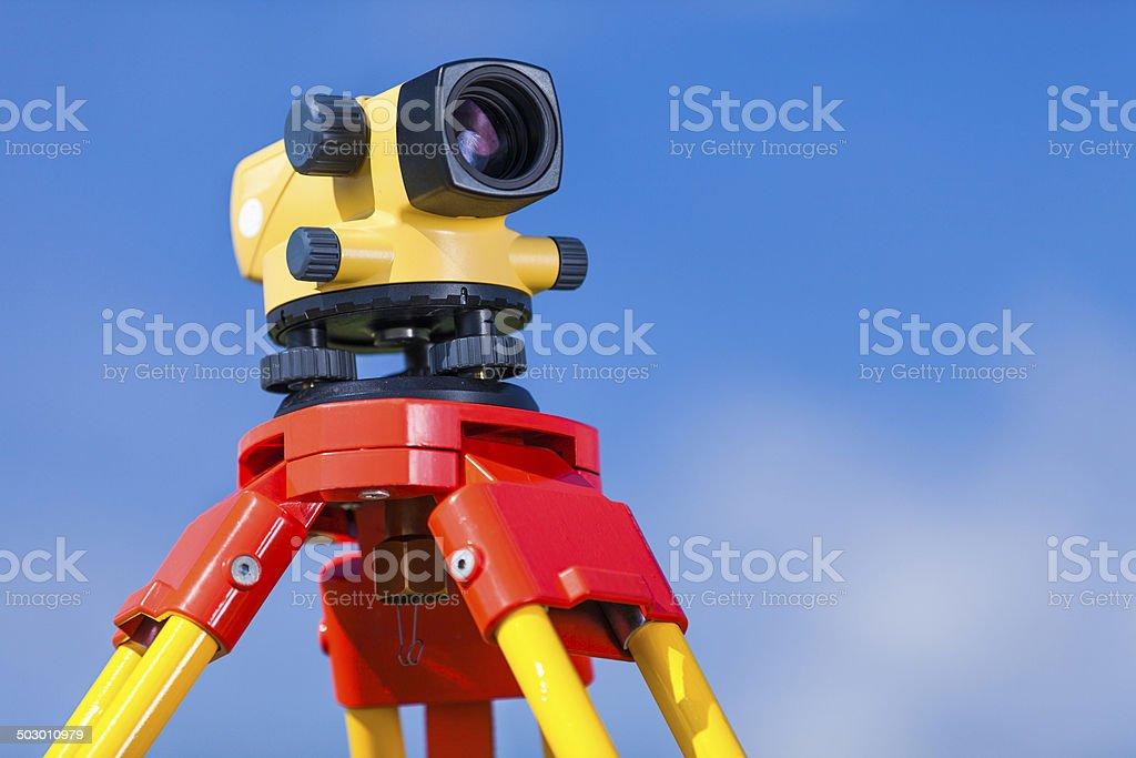 Level - surveyor's equipment stock photo