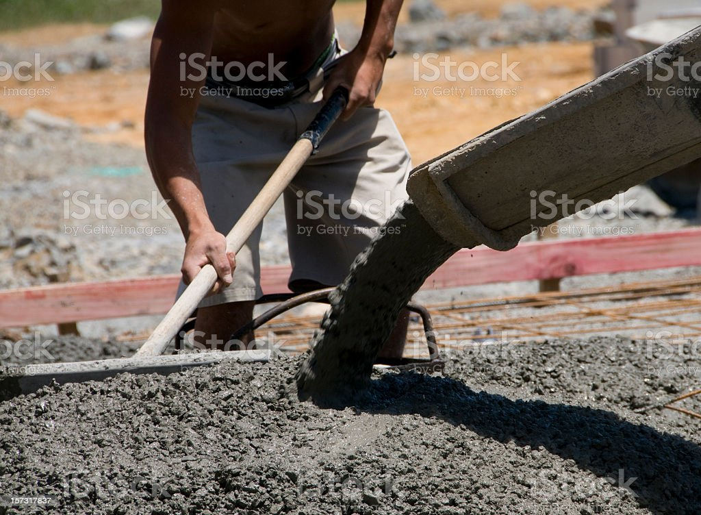 Levelling Fresh Concrete royalty-free stock photo