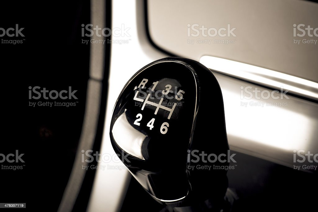Lever of manual  transmission in auto, vehicle. stock photo