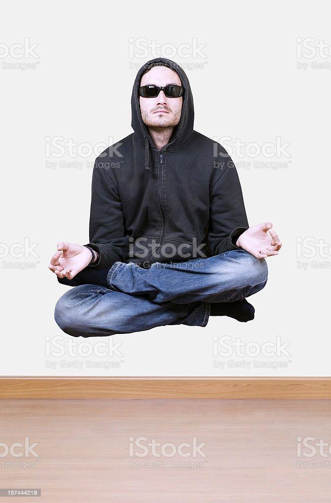 Levitating and meditating royalty-free stock photo