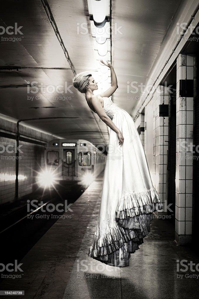 Levitating Bride stock photo