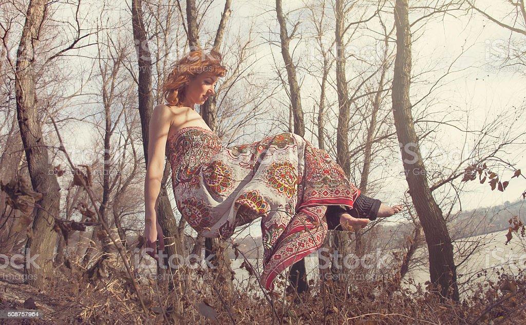 Levitating woman stock photo