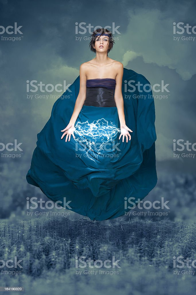Levitation and electricity stock photo
