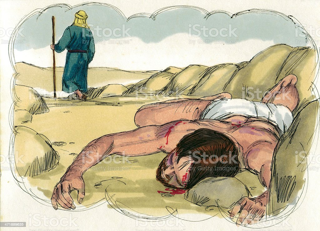 Levite Ignores Injured man royalty-free stock photo