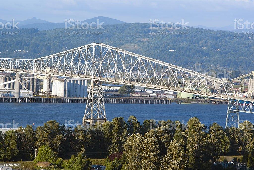 Lewis and Clark Bridge over Columbia river stock photo