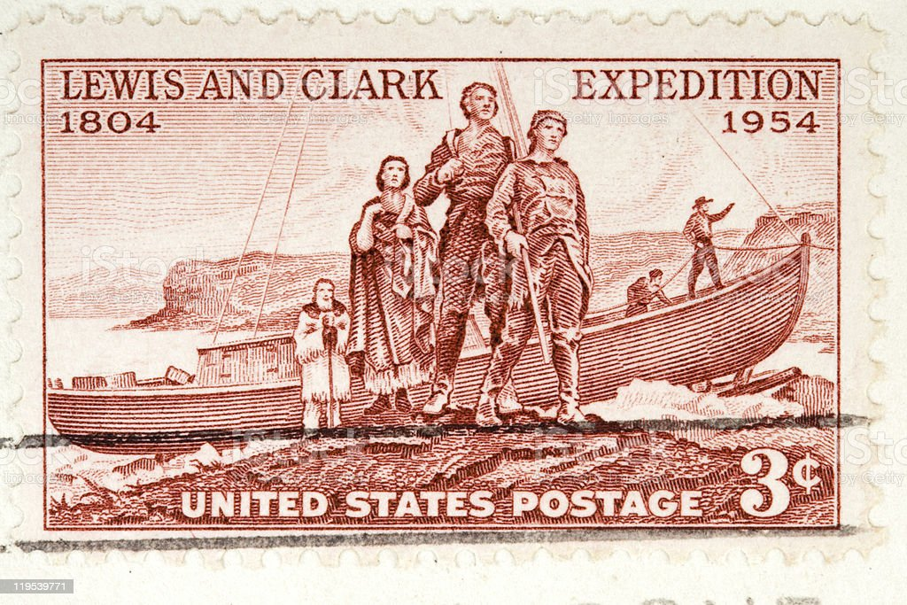 Lewis and Clark Expedition Postage Stamp 1954 stock photo