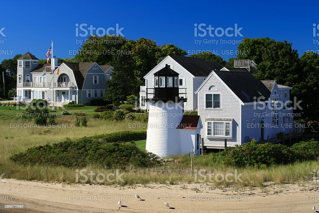 Lewis Bay Lighthouse in the morning, Hyannis, Cape Cod, Massachusetts. stock photo