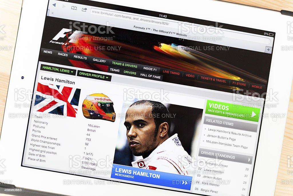 Lewis Hamilton on iPad royalty-free stock photo
